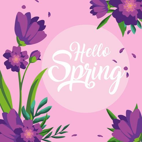 bonjour carte de printemps avec une belle décoration de fleurs vecteur