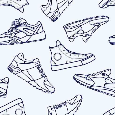 Seamless Pattern avec icône de trait de ligne plate chaussure de baskets vecteur