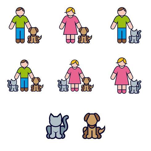 Jeu d'icônes de couleur des animaux domestiques et de leurs propriétaires vecteur