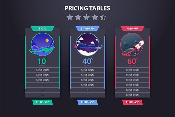 Tableau de tarification 3 modèle de vecteur d'avion différents Dark Concept Design