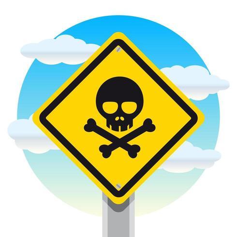 Plaque de rue danger mortel avec fond de ciel nuageux vecteur