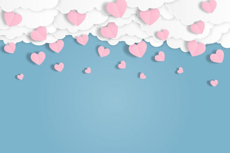 Coeur rose tomber du ciel bleu. vecteur