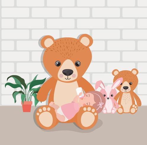 petite fille avec personnage de jouets en peluche vecteur