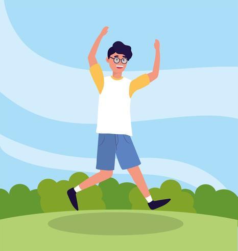 gentil homme sautant portant des lunettes de mode vecteur