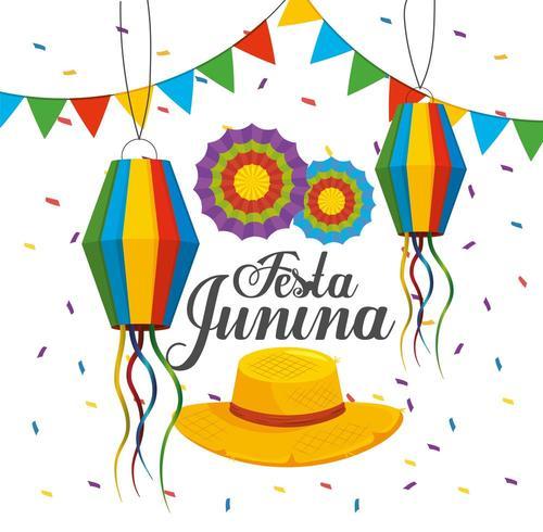 lanternes avec bannière et fleurs à festa junina vecteur