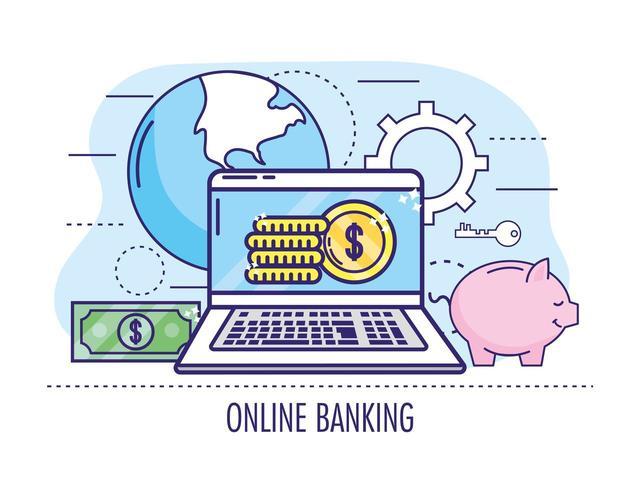 ordinateur portable avec des pièces et facture aux services bancaires en ligne vecteur