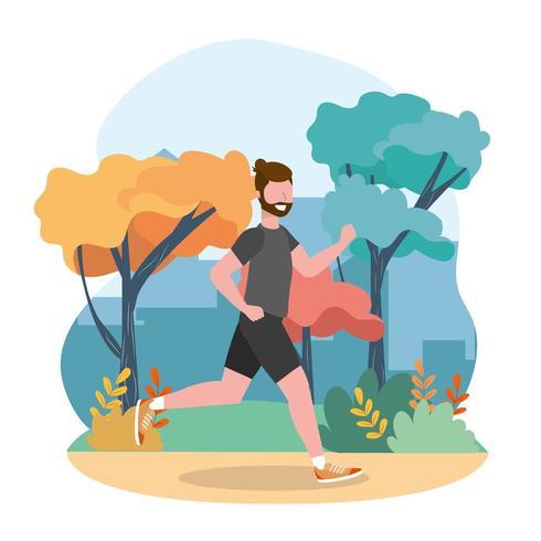 homme courant pratiquant l'exercice actif vecteur