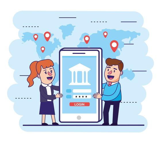femme et homme avec smartphone et banque numérique vecteur