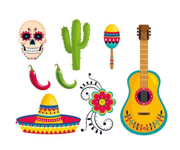 définir la décoration mexicaine traditionnelle à la célébration de l'événement vecteur