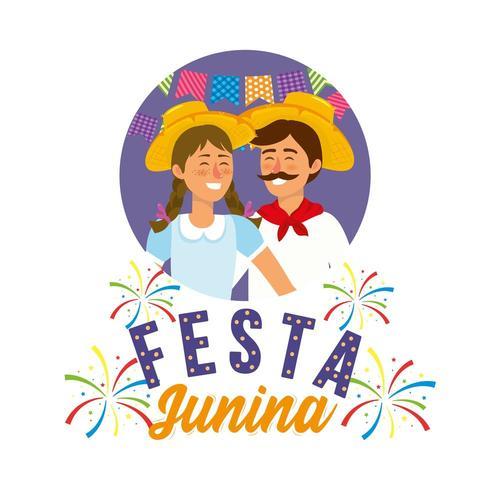 femme et homme portant chapeau à festa junina vecteur