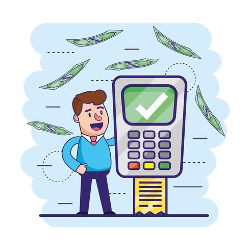 homme avec un dataphone numérique et des informations sur les transactions vecteur