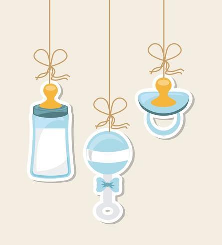 Éléments de douche de bébé bleu vecteur