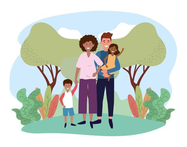 heureux homme et femme couple avec leurs enfants vecteur