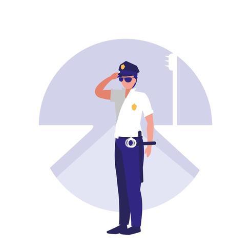 personnage d'avatar de l'homme de police vecteur
