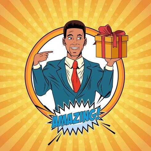Caricature d'homme d'affaires pop art vecteur