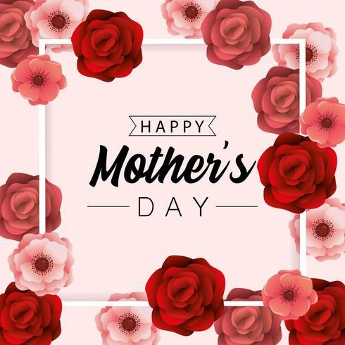 fête des mères fête avec fond de plantes roses beauté vecteur