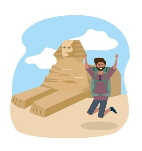 Voyage homme sautant et destination de sculpture en Egypte vecteur