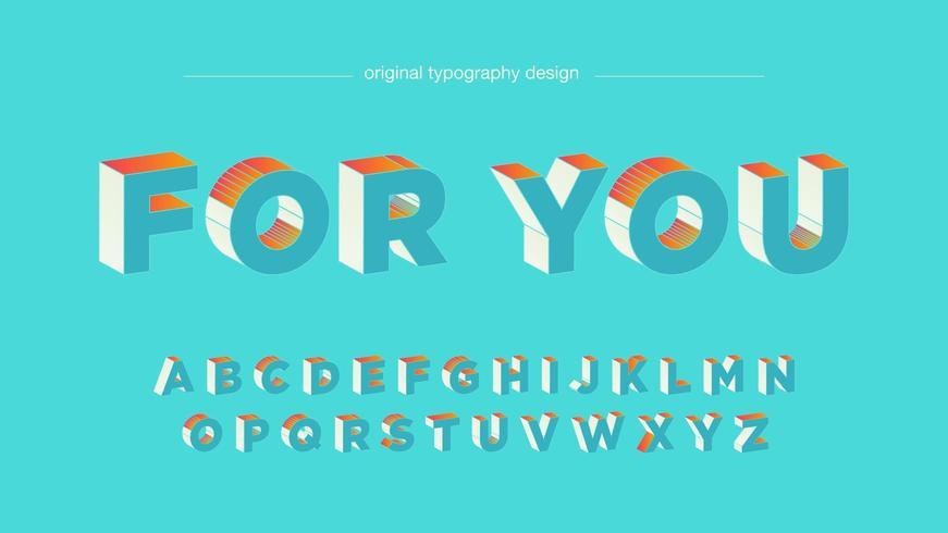 Conception de typographie audacieuse 3D bleu clair orange vecteur
