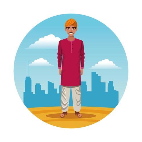 homme indien indien en chemise rouge rond dessin animé icône vecteur