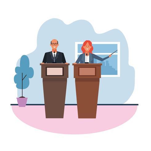 collègues dans des conférences debout au podium vecteur