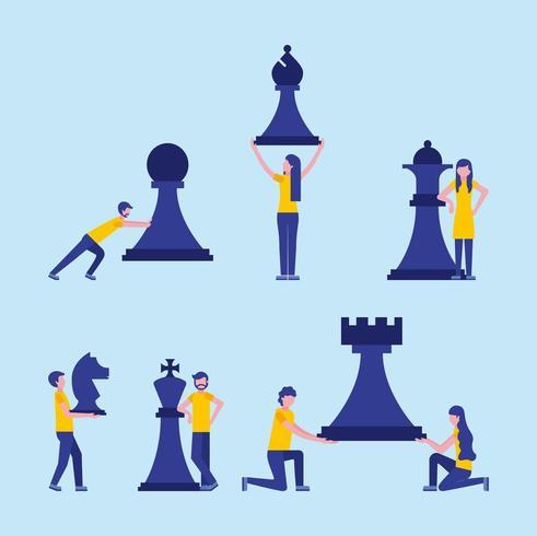 concept de jeu d'échecs gens d'affaires vecteur