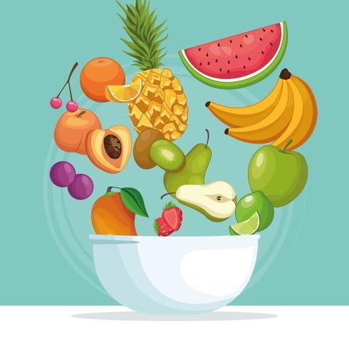 bol de fruits avec des fruits dans l'air vecteur
