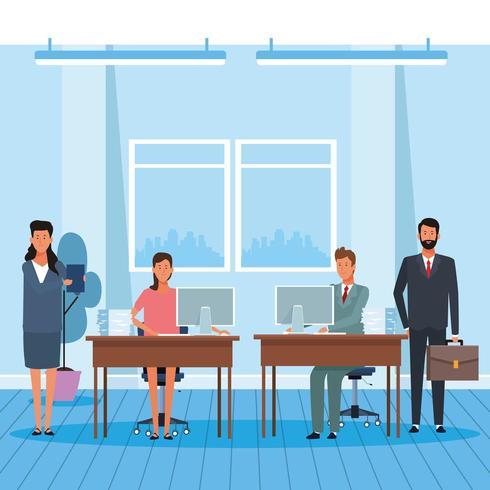 collègues hommes et femmes au bureau vecteur