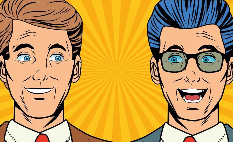 Pop art deux hommes d'affaires souriant visages cartoon vecteur