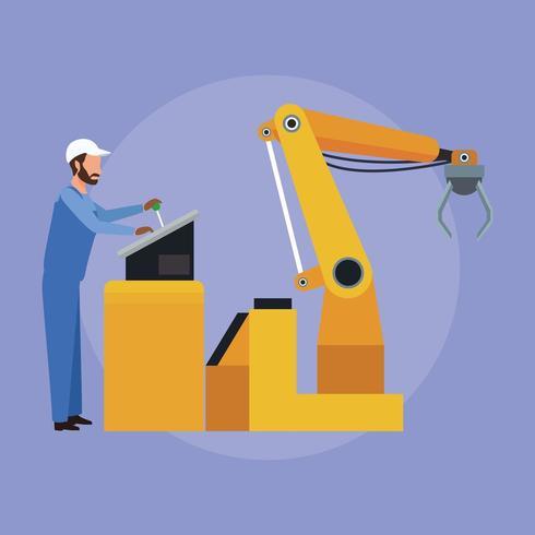 Ouvrier d'usine faisant fonctionner des machines à bras de robot vecteur