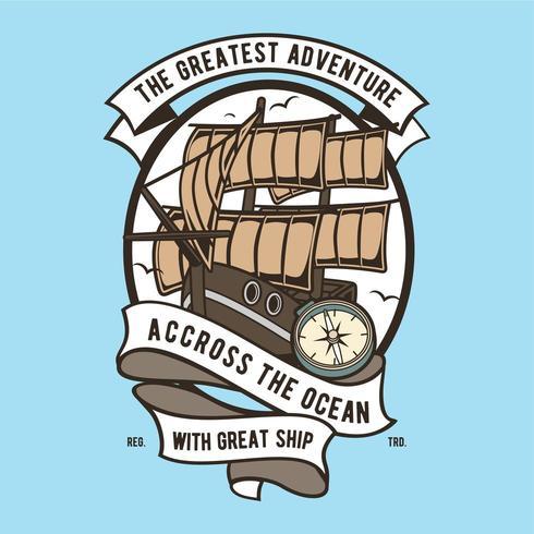 badge grand navire vecteur