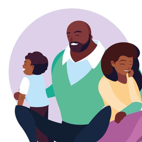 Parents afro-américains et enfant vecteur