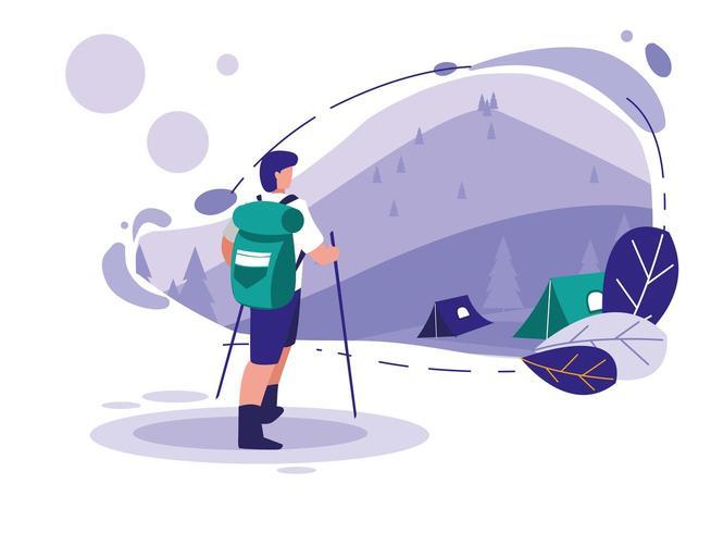 Paysage avec montagnes et homme ski vecteur