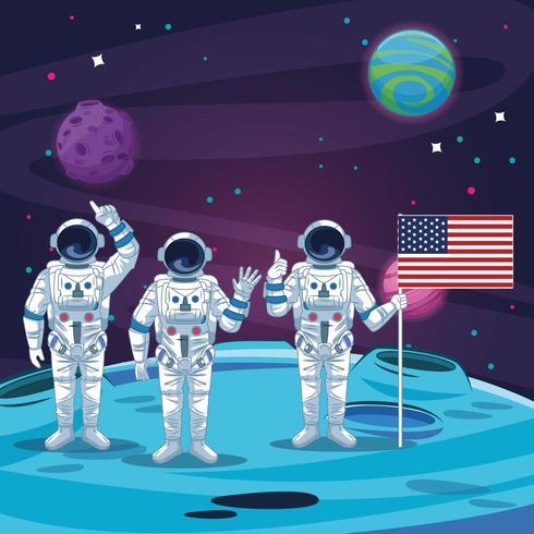 Astronautes dans le paysage lunaire vecteur