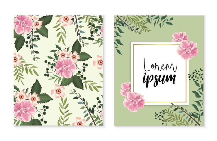 Set de cartes et étiquettes avec des plantes roses vecteur