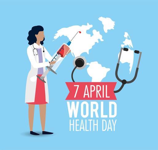 femme médecin avec seringue à la journée de la santé vecteur