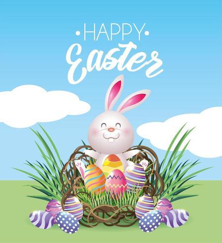 Joyeux lapin de Pâques avec décoration d'oeufs vecteur