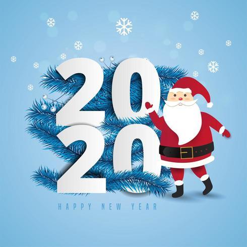 Santa Claus et 2020 lettrage avec des flocons de neige vecteur