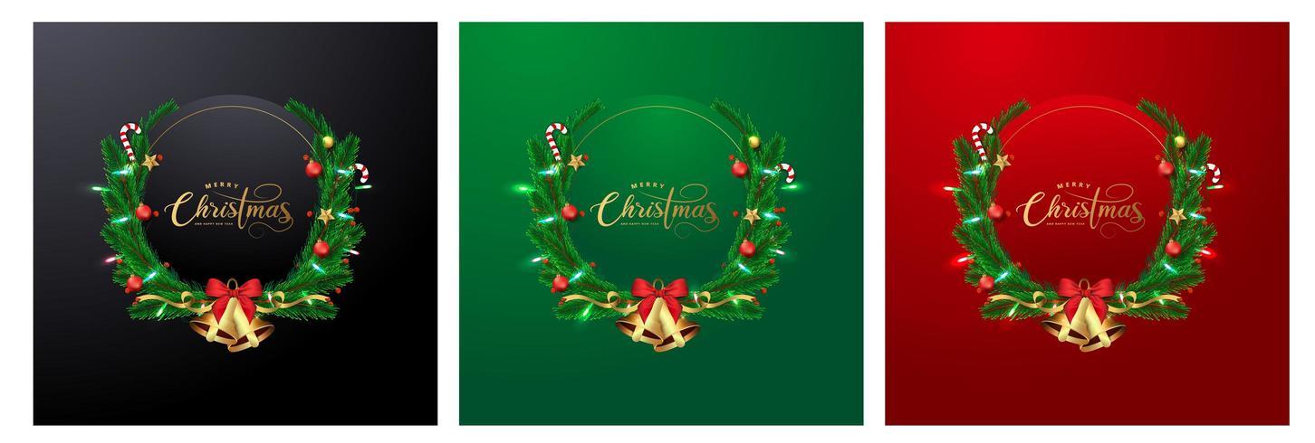 Carte de voeux de Noël avec des couronnes et un espace pour le texte vecteur