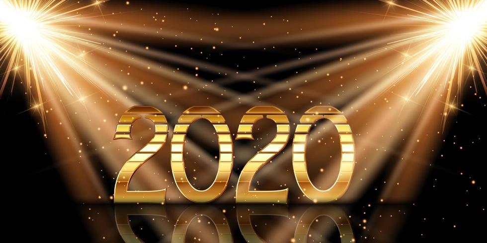 Bonne année fond avec chiffres d'or sous les projecteurs vecteur