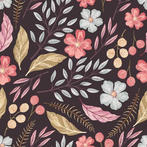 Motif texturé sans couture florale vecteur