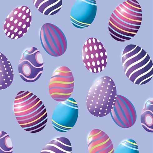 Joyeuses Pâques oeufs de Pâques avec fond de décoration de chiffres vecteur