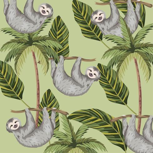 paresse avec palmiers tropicaux et fond de feuilles vecteur