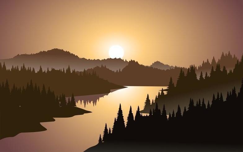 Coucher de soleil en montagne vecteur