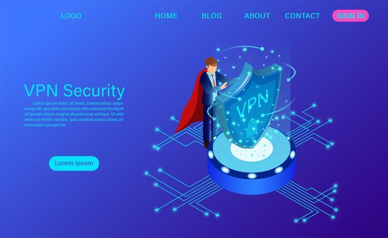 Page de destination de la sécurité du réseau privé virtuel vecteur