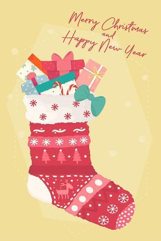 Variété de coffrets présents en chaussette de Noël rouge vecteur