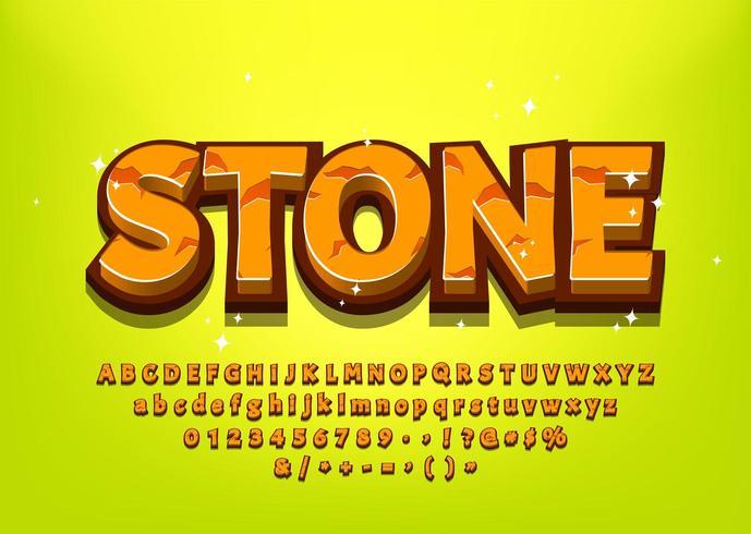Stone 3d alphabet de bande dessinée pour le titre du jeu vecteur