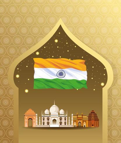 Architecture de construction de monument national de l'Inde vecteur