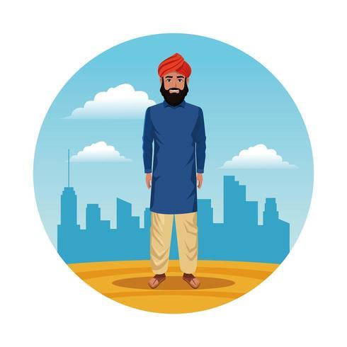 homme indien indien rond dessin animé icône vecteur