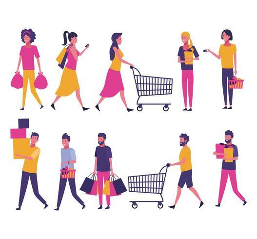 Ensemble de gens shopping vecteur