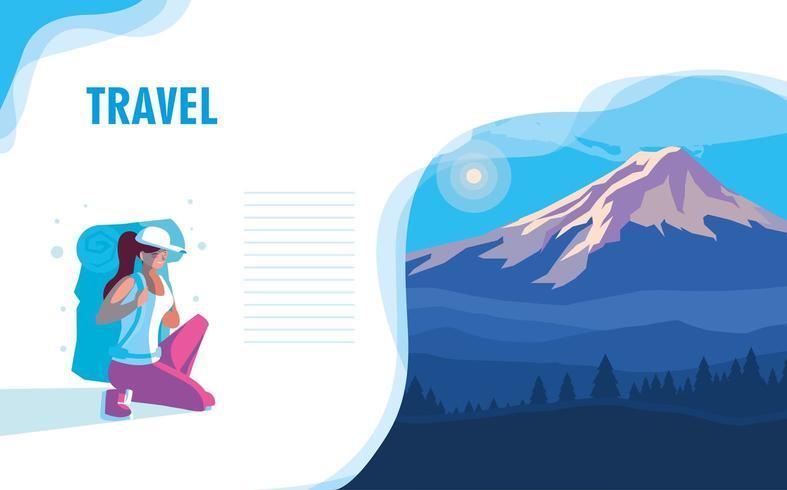 paysage montagneux avec page de destination voyageur vecteur